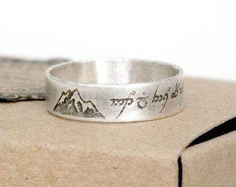 Sterling Silver Personalised Message Ring, Elvish Script Ring, Not All Those Who Wander Are Lost, Customise Your Own