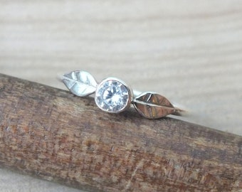 Sterling Silver Cubic Zirconia Ring, Silver Leaf Ring, Natural Silver Leaf Ring, Woodland Jewellery, Silver Engagement Ring