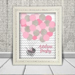Baby Shower Guest Book Alternative Printable Digital File for Guests to Sign the Balloons, Baby Carriage -  Pink & Gray