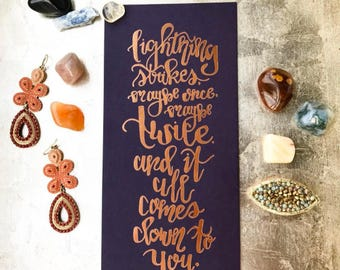"""Bronze Foiled Inspirational Calligraphy """"Gypsy"""" Stevie Nicks Quote Print"""