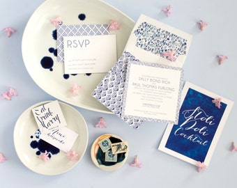 Preppy Letterpress Wedding Invitation