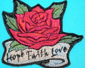 Rose Hope Faith and Love Iron On Patch, Inspirational, Embroidered Patch, Motorcycle Patch, Tattoo,