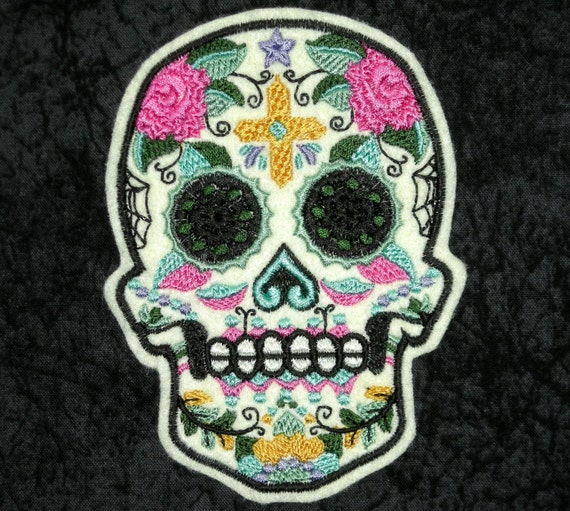 MEXICAN SKULL Iron Sew On Patch Day Of The Dead Dia De Los Muertos Biker Fashion