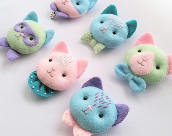 BUY ANY TWO Felt Cat Brooches, Cute Pastel Colored Felt Kitty Brooches, Special Bargain Handmade Jewelry for Cat Lovers