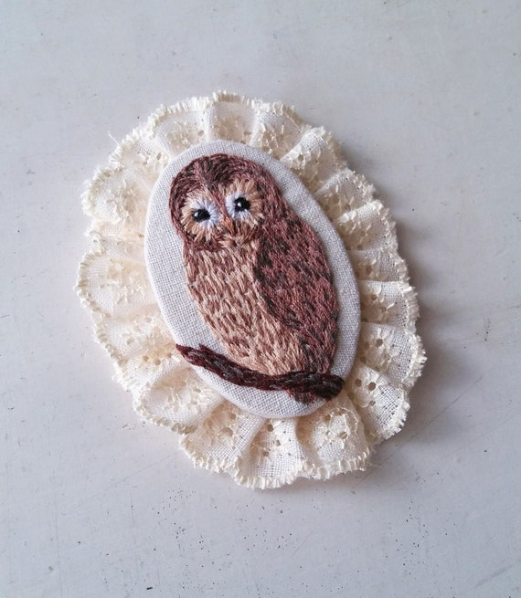 Brown Owl Hand Embroidery Brooch, OOAK Vintage Classic Victorian Style Tawny Owl Brooch with Lace Frame