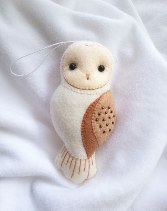 Barn Owl Felt Ornament Winter Holiday Themed Decoration, Collectible Felt Animals, Baby Nursery Owl Decor