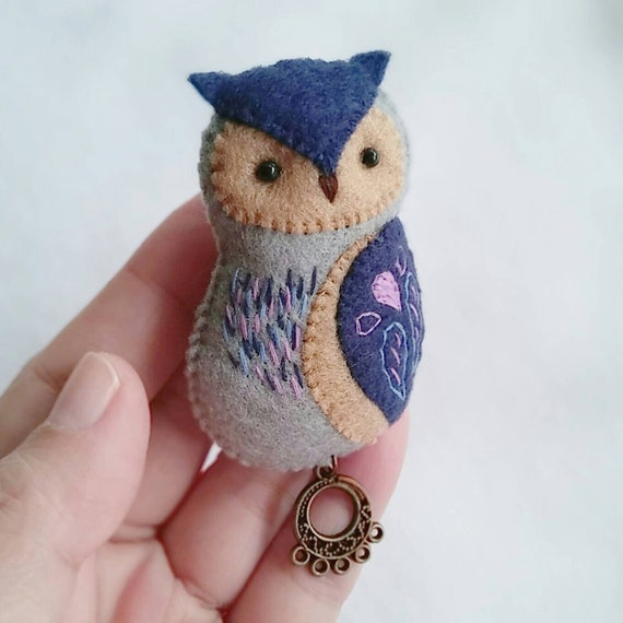 OOAK Felt Great Horned Owl Brooch with Hand Embroidery and Metal Charm, Boho Style Fabric Brooch