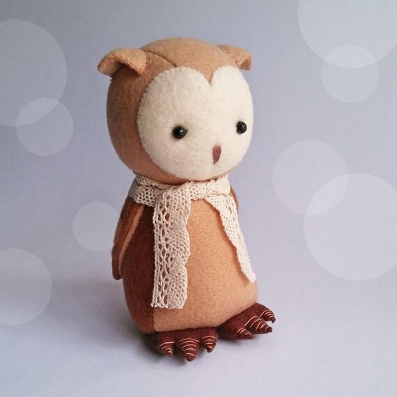 Brown Owl Felt Plush, Handmade Felt Owl Doll for Nursery Decoration, Gift for Owl Lovers, Cute Owl for Woodland Nursery