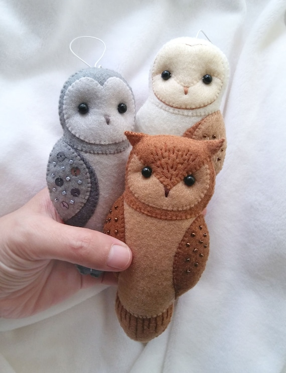 SPECIAL PRICE Set of 3 Felt Owl Ornaments, Winter Holiday Themed Decoration, Collectible Felt Animals Baby Nursery Decor