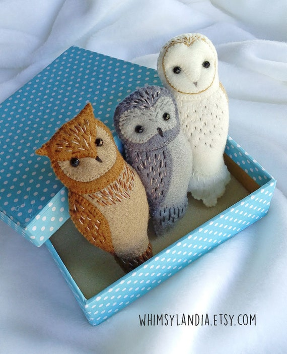 SPECIAL BARGAIN - Set of Three Handmade Owl Brooches, Embroidered Felt Owl Brooches with Discount, Gift for Owl Lovers