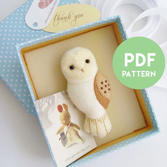 PDF Pattern of Barn Owl Felt Brooch Ornament , Woodland Felt Animals Pattern, DIY Felt Sewing Pattern and Illustrated Tutorial