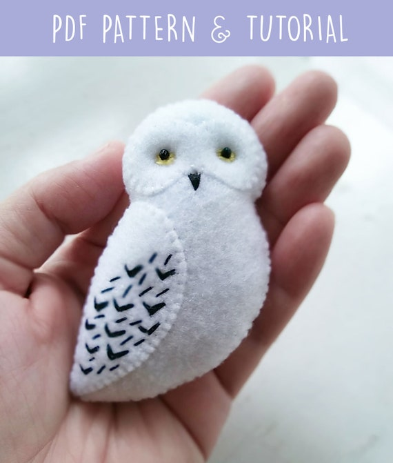 PDF Pattern of White Snowy Owl Felt Brooch Ornament Soft Toy, Felt Owl Gift Sewing Pattern and Tutorial Hedwig Harry Potter Owl Jewelry