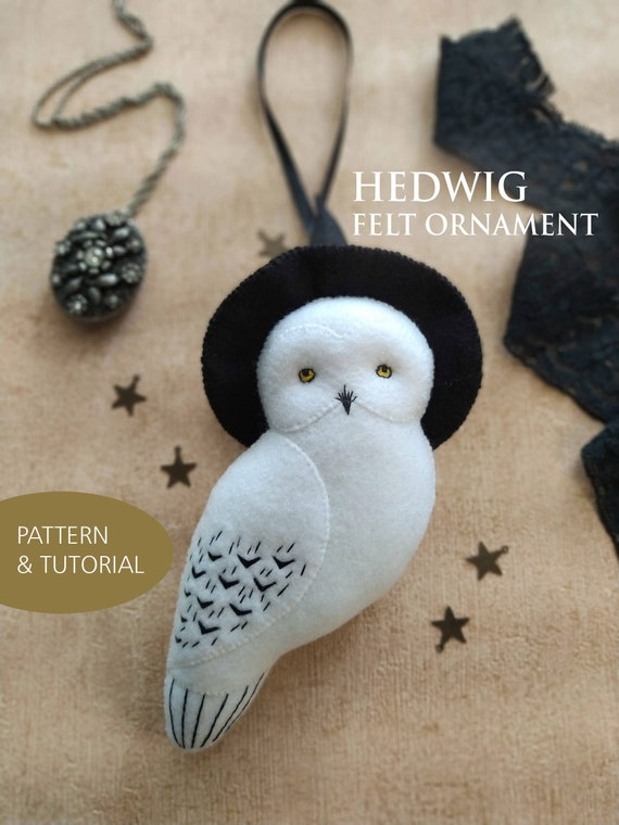 NEW! Hedwig Inspired Felt Ornament PDF Pattern and Tutorial, Gift for Harry Potter Fans, DIY Hedwig Snowy Owl Halloween Decor Hanging Mobile