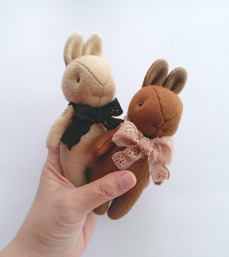 Felt Animal Soft Toy in Vintage Style Blythe Friend Mini Brown Rabbit Plush Miniature Bunny Rabbit Felt Plushie
