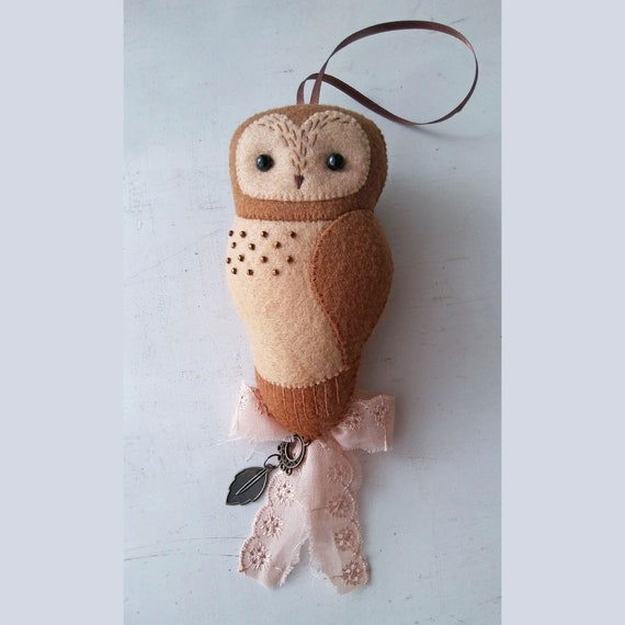 Nursery Brown Owl Felt Ornament with Hand Embroidery, Baby Shower Gift , Collectible Baby Nursery Decor