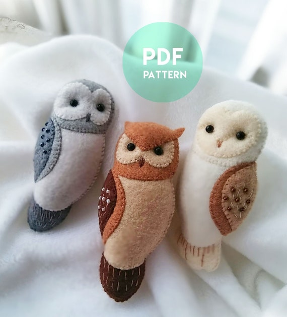 Set of 3 PDF Patterns of Felt Owl Brooches, Bundled Set Instant Download File for Pattern and Illustrated Tutorial Felt Owl Brooches
