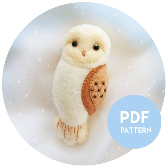 PDF Pattern of Barn Owl Felt Brooch, Instant Download File for Pattern and Illustrated Tutorial Felt Barn Owl Brooch, Owl Gifts