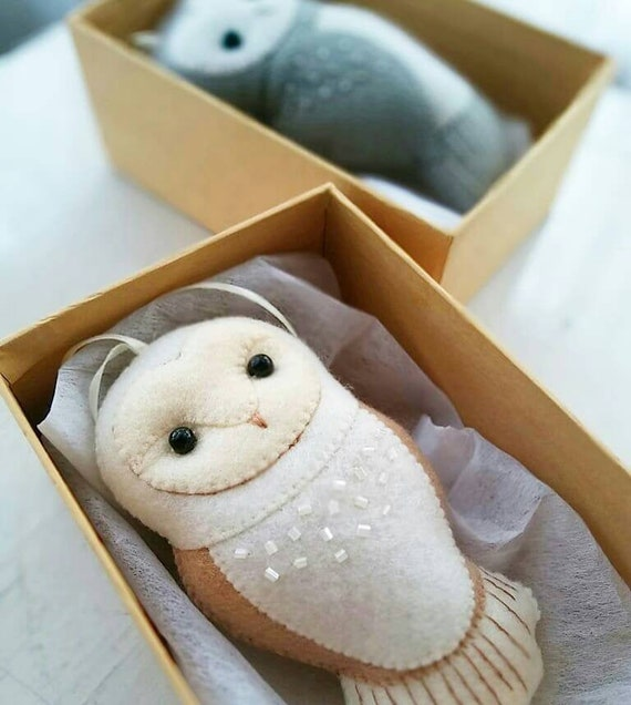 Barn Owl Felt Ornament for a Winter Holiday Themed Decoration, Collectible Baby Nursery Decor