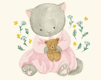 Printable Digital Art Print of Kitty Cat Illustration, Baby Girl Nursery Art as Instant Download File for  Nursery Decor