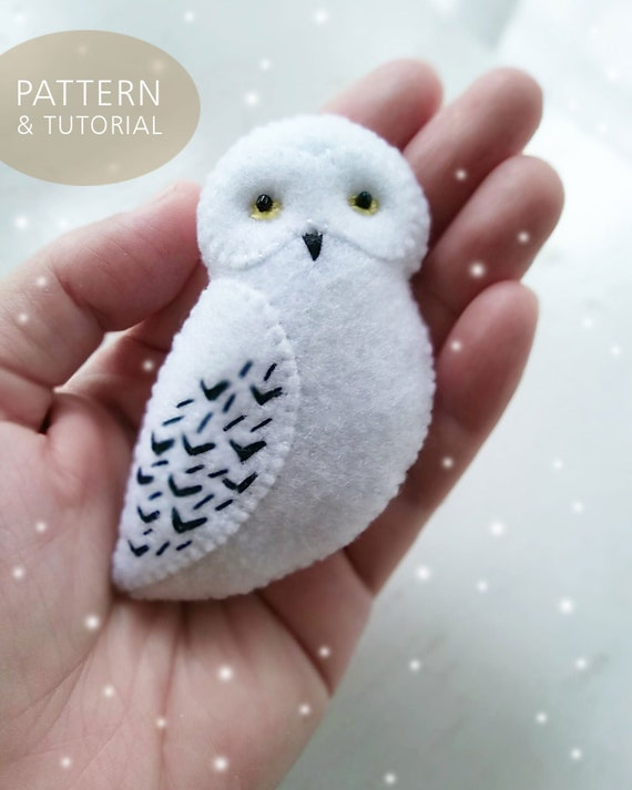 PDF Pattern of White Snowy Owl Felt Brooch Ornament Soft Toy, Easy Craft for Children, DIY Hedwig Harry Potter Owl Jewelry