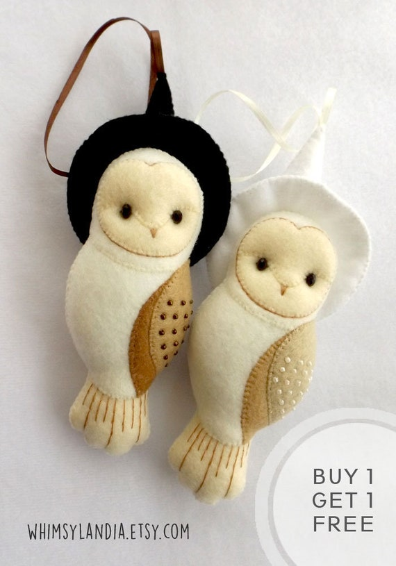 BUY 1 GET 1 FREE Felt Barn Owl Halloween Ornaments, Gift for Owl Lovers, Bundled Set of Ornaments for Home Decor, Kids Room Nursery