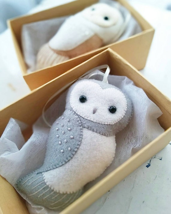 Gray Owl Felt Ornament for a Winter Holiday Themed Decoration, Collectible Baby Nursery Decor, Nursery Owl Decor