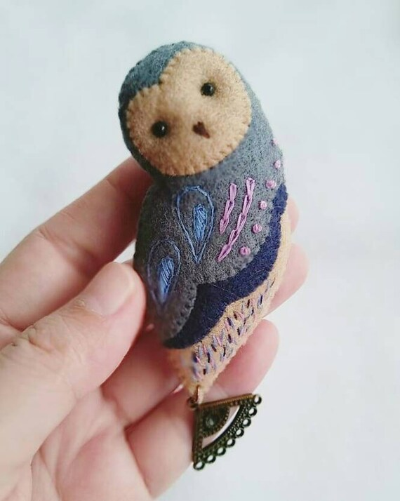 OOAK Felt Barn Owl Brooch with Hand Embroidery and Metal Charm, Boho Style Fabric Brooch