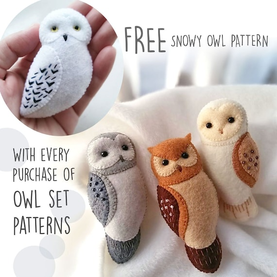 BUY 3 GET 1 FREE - Owl Brooch Ornaments Soft Toy Pdf Patterns Tutorial Set, Felt Animals Owl Brooches Sewing Patterns Bundled Set