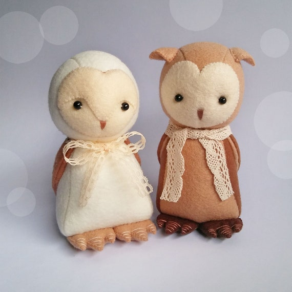 Brown Owl and Barn Owl Felt Plushies (Choose One Or as a Set), Handmade Felt Animals for Woodland Nursery Decoration, Gift for Owl Lovers