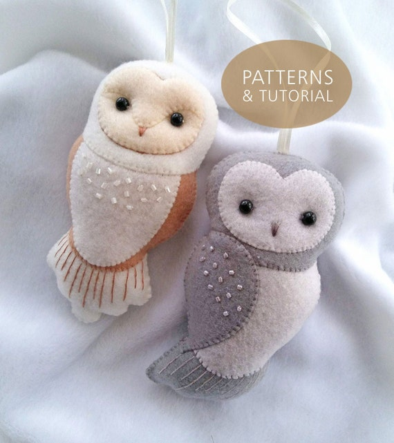 NEW! Set of Two Felt Owl Ornaments PDF Patterns and Tutorial Set, DIY Felt Barn Owl and Grey Owl Ornaments for Home and Nursery Decor