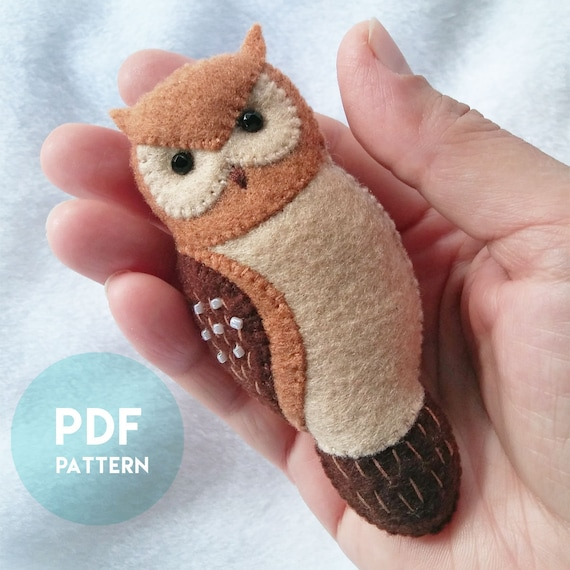PDF Pattern of Mini Brown Horned Owl Felt Brooch Ornament Soft Toy, Felt Animal Pattern and Tutorial, Handmade Owl Gift, Owl Jewelry