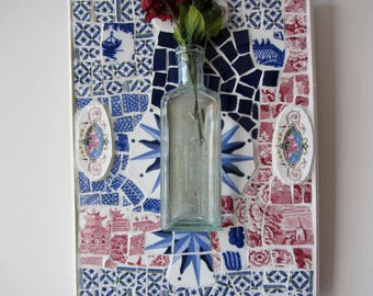 Blue and Red Mosaic Wall Hanging with a Vintage Pharamacy Bottle