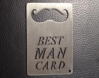 Best Man Card, Credit Card sized Bottle Opener