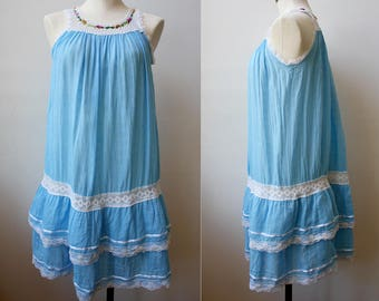 1970s Mexican Crochet Cotton Tiered Ruffle Dress, Size XS/Small