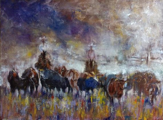 Equine Art Animal Painting Herding Cowboys Livestock Cows Cattle Wild West Bull Horseback Rancher Original Canvas Painting 24 X18