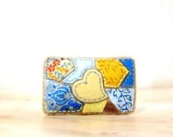 Summer Lake Mosaic Brooch. Yellow, Mustard and Blue. Felt Fabric Textile Brooch. Heart Applique Brooch. Mosaic Jewelry.