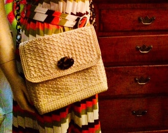 Vintage ~ Mid Century 1970's ~ Christian Livingston Collection ~ Cotton Cream Crocheted Cross Body Bag/Purse ~ Acrylic Tortoiseshell Accents