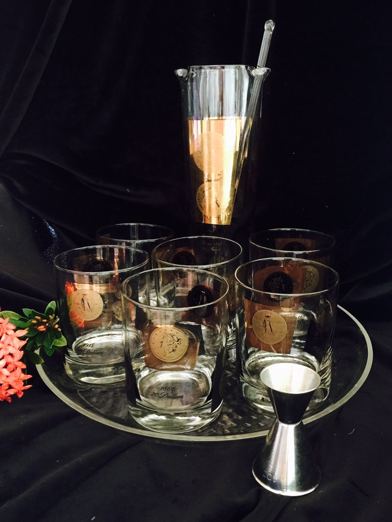 6 Coin Rocks Glasses Stir Stick Hollywood Regency CERA Gold Coin 10 Piece Cocktail Set ~ Coin Pitcher  Decanter Tray /& Double Jigger