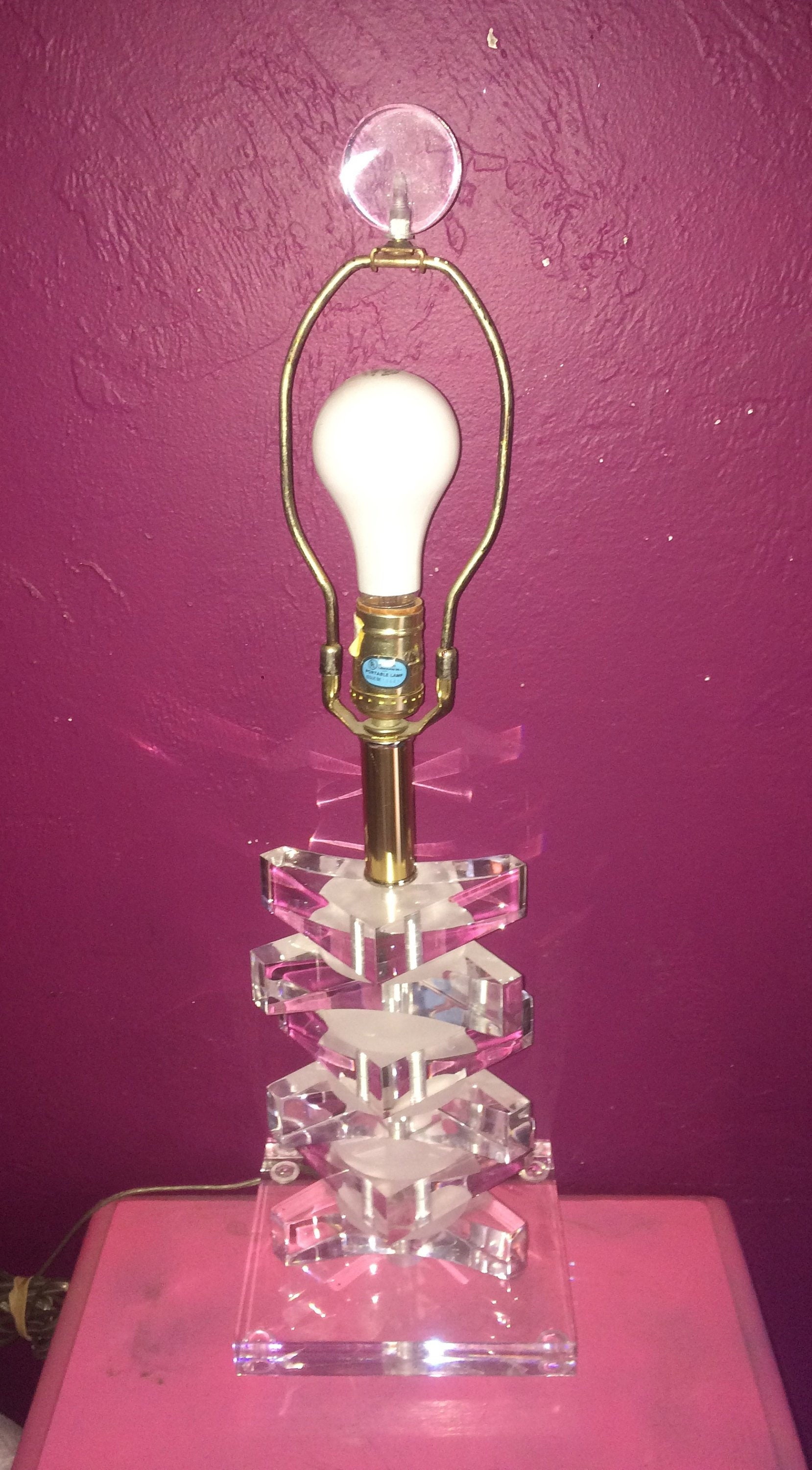 Vintage ~ Mid Century 21s ~ Hollywood Regency ~ Stacked, Alternate Clear  & Frosted LUCITE ~ 21