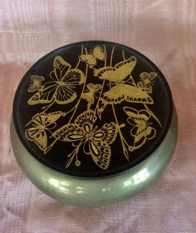 Vintage 1950s ~ Brass Trinket Box ~ Golden Embossed Butterflies ~