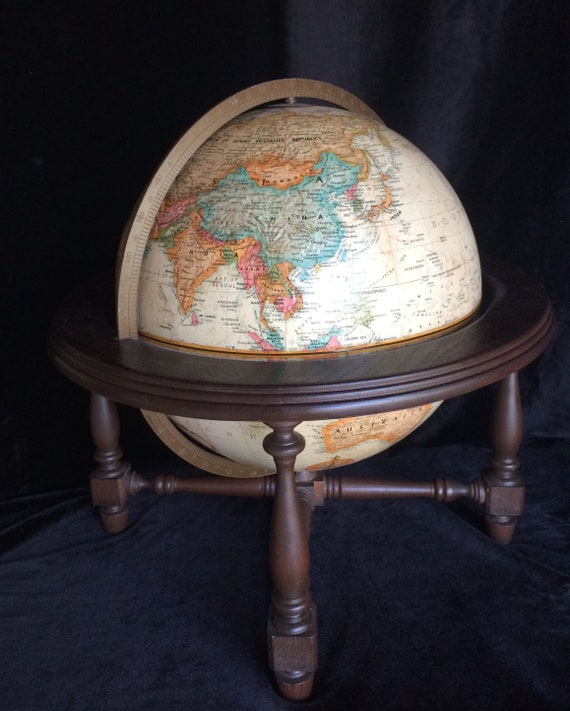 """Vintage Antique Replogle Globe 12/"""" World Classic Series Raised With Tripod Stand"""