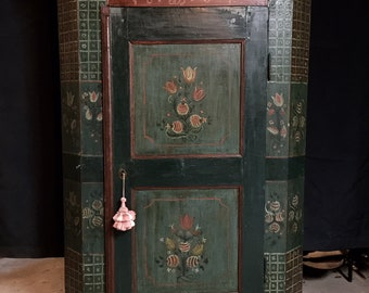 Pre-War of 1812 ... Pennsylvania Dutch Polychrome Painted 1801 Armoire with Large Door, lock, 3 shelves inside plus lower drawer w/wood pull