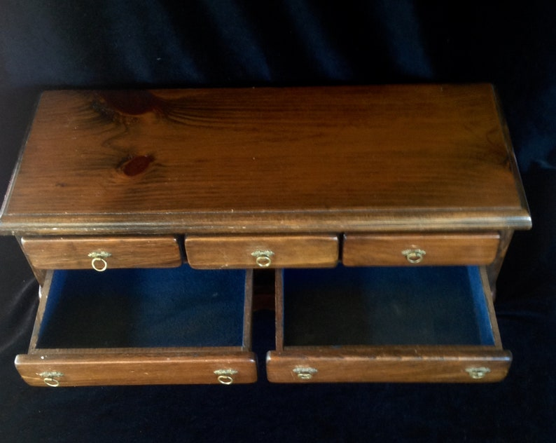 Vintage /& handmade ~ Mid Century 1950s ~ Walnut Wooden Jewelry Box ~ Brass Accents ~ See the details and love that went into its creation