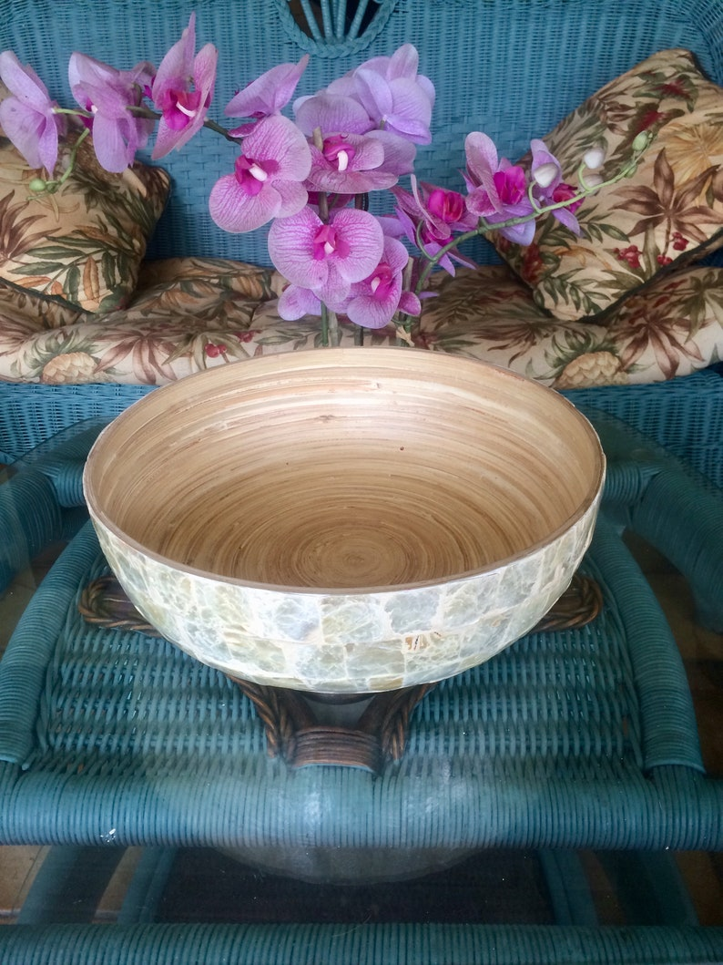 Vintage ~ Mid Century 1950s ~ Natural Brick Tiled Capiz Shell and Mother Of Pearl Decorative Bowl ~ Handcrafted ~ Art Deco ~