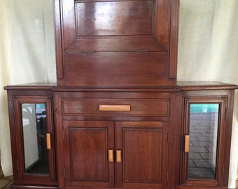 """Gorgeous BAR Rare Art Deco wooden wall-bar ~ Original ~ Lots of storage with display cabinets combined into 1 unit ~ open top to view """"Bar"""""""