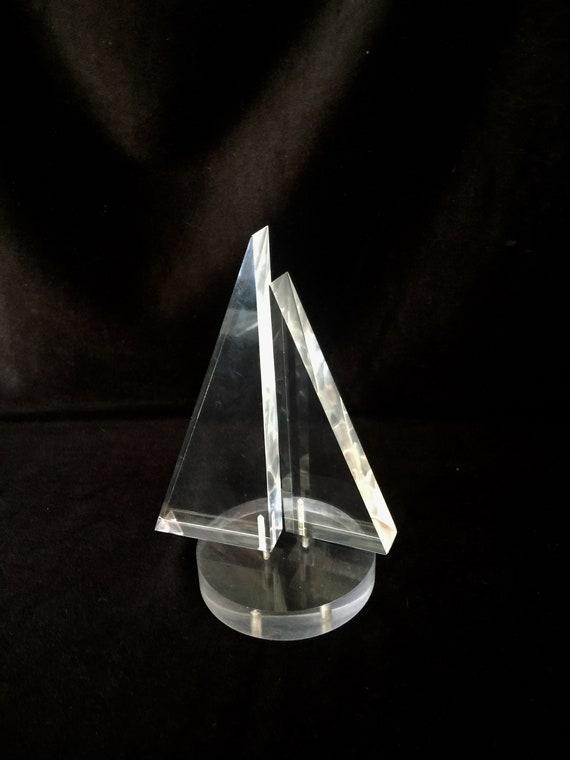 Vintage ~ 1970s ~ Modern Lucite Sailboat ~ Paperweight ~ Nautical Deco ~