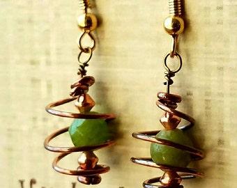 Orbiting Green Dangle earrings,  coiled earrings,  copper wire earrings