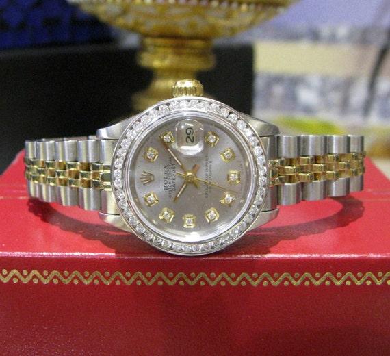 Damen ROLEX Oyster Perpetual Datejust Diamonds Edelstahl und Gold Uhr