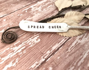 """Cheese knives, handstamped knives, """"Spread Cheer"""" cheese spreaders, Holiday sayings, Neighbor gifts, Perfect for holiday parties,"""