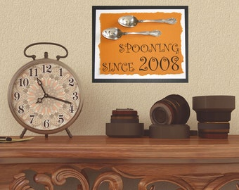 Spooning since... Spooning Canvas.. Gift for her...Great wedding or anniversary gift...mom..customizable...gifts for her.
